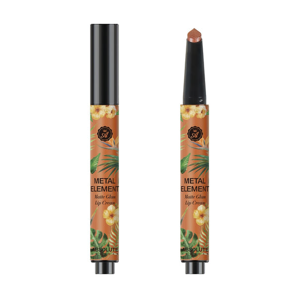 Metal Element by Absolute New York in Bahama Beaches (MLME01) - is a metallic bronze with iridescent pearls. This lightweight metallic lipstick is buttery-smooth and leaves your lips with a shimmery finish.