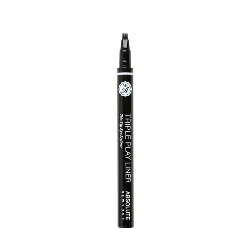 Absolute New York Triple Play Liner - jet black, 3-point tip liquid eyeliner that easy lines and defines the lash line for bold, beautiful eyes.