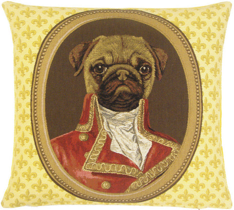 Glided Framed Pug Tapestry Pillow