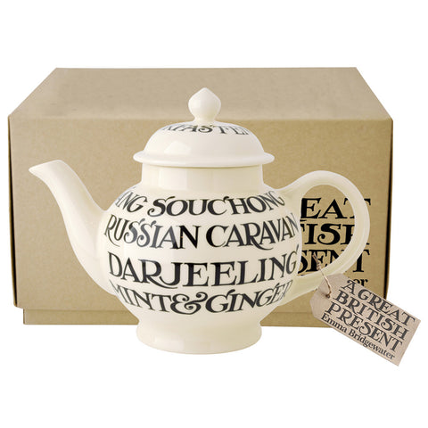 Emma Bridgewater 4 Cup Tea Pot All Over Black Toast Boxed