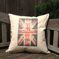 "Keep Calm and Carry On - Union Jack design  18"" Canvas Pillow"