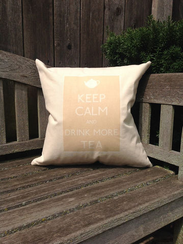"Keep Calm and Drink More Tea 18"" Canvas Pillow"