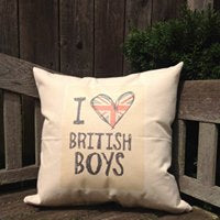 "I love British Boys 18"" Canvas Pillow"