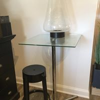 Glass and Chrome Bar Table