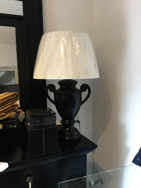 Pair of Black Ceramic Urn Lamps with white shades