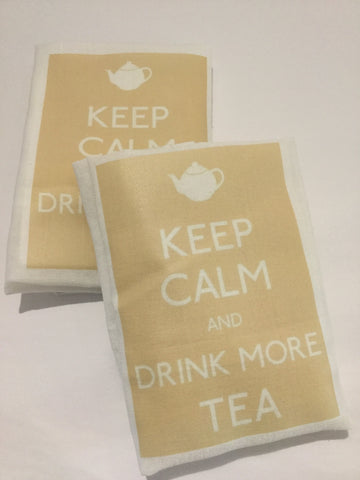 Flour Sack Tea Towel - Set of 2 - Keep Calm and Drink more Tea