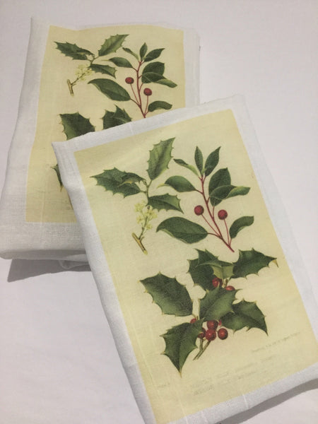 Flour Sack Tea Towel - Set of 2 -  Green Holly