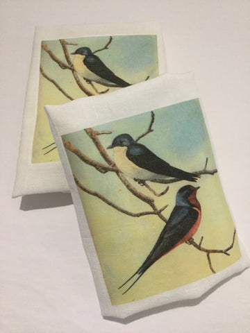 Flour Sack Tea Towel - Set of 2 -   Birds on twig