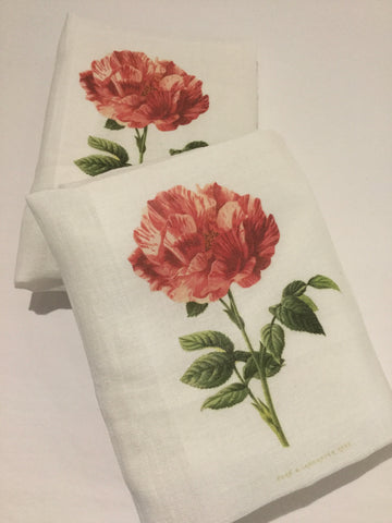 Flour Sack Tea Towel - Set of 2 - PInk Rose