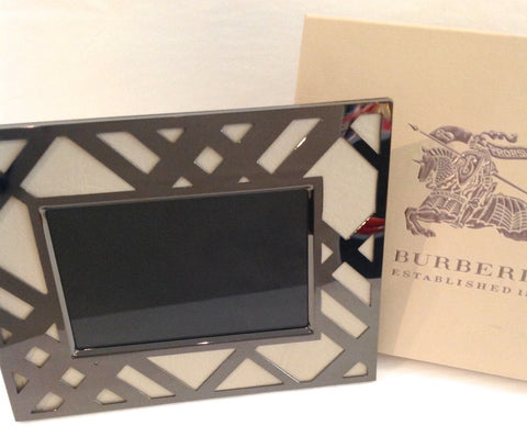 "Burberry Leather and Nickel Plated 4"" x 6"" Picture Frames"