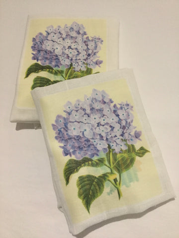 Flour Sack Tea Towel - Set of 2 -  Blue Hydrangea