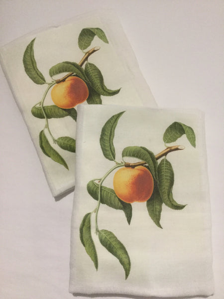 Flour Sack Tea Towel - Set of 2 -   Peach Vine
