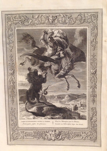 The Temple of the Muses Mythological Figures & Fable 1733 Engravings -- Bellerophon fights the Chimora