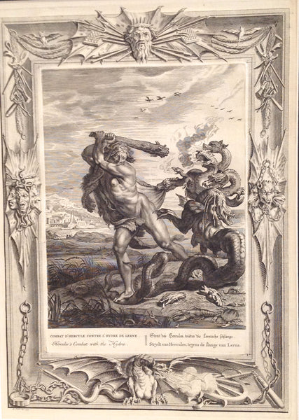 The Temple of the Muses Mythological Figures & Fable 1733 Engravings -- Hercules Combat with the Hydra