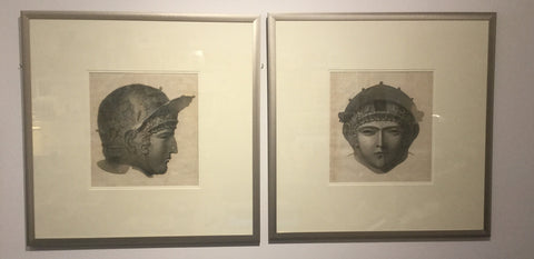 Pair of Male Gladiators Head and Helmet Antique Prints