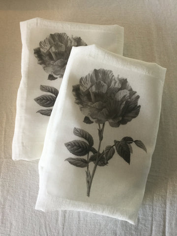 Flour Sack Tea Towel - Set of 2 -   Black & White Rose