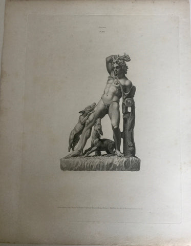 Male Statue 1800s Engraving  - Statue with Dogs