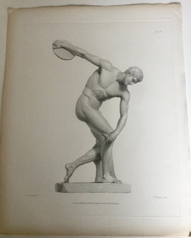 Male Statue 1800s Engraving   Disc Thrower