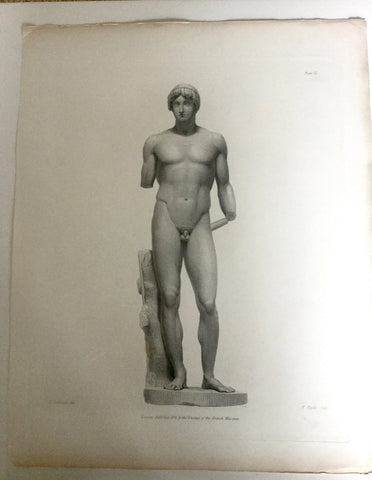 Male Statue 1800s Engraving  - Single Arm
