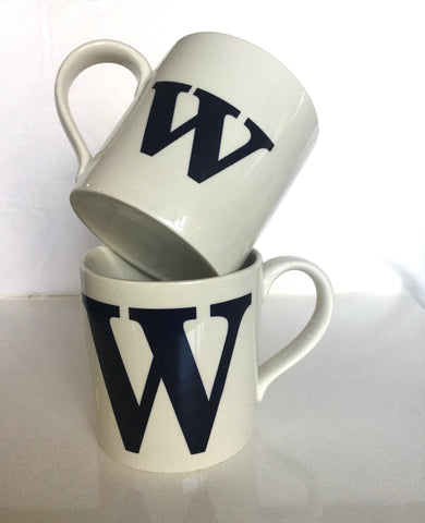 "Alphabet  Mugs  Pair of ""W"""