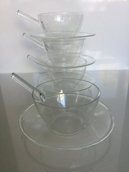 Set of 4 Hand blown and signed Glass tea cups and saucers