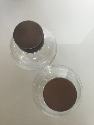 Set of 2 Clear Glass Containers - Brown Top
