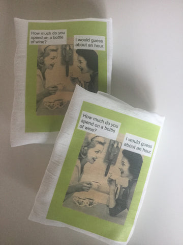 Flour Sack Tea Towel - Set of 2 -   How much do you spend on a bottle of wine?