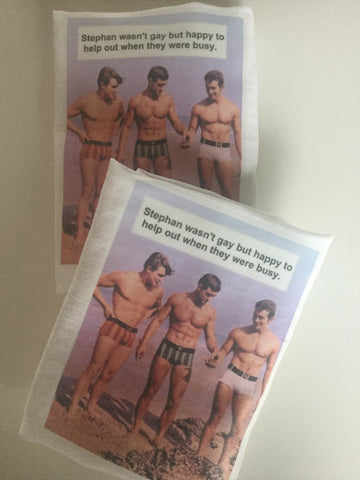 Flour Sack Tea Towel - Set of 2 -   Stephan wasn't gay but was happy to help out when they were busy.