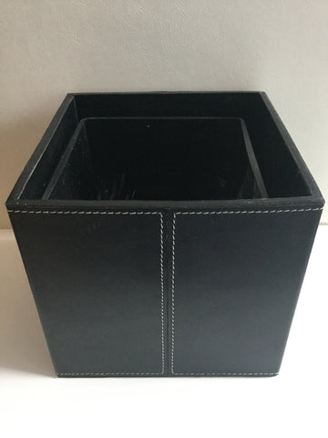 Square Leather Containers Large - Black with glass container
