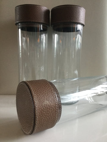 Clear Glass Containers - Caramel  Leather Top