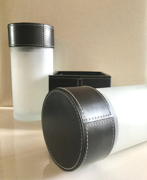 Frosted Glass Containers - Dark Brown Leather Top