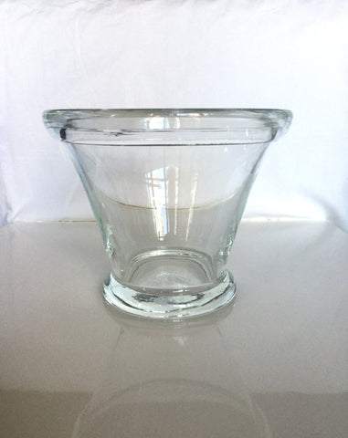 Hand Blown Clear Glass Pot