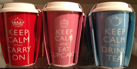 Keep Calm and Carry On Travel Mugs, Drink Tea