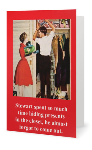 Steward spent so much time hiding presents -- Christmas