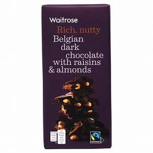 Waitrose Rich, nutty Belgian Dark chocolate with raisins & almonds