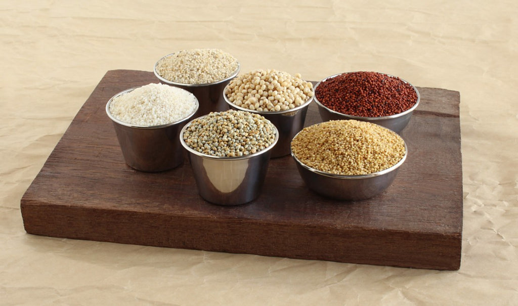 Rice Vs Millets 01. A slab with different millet bowl.