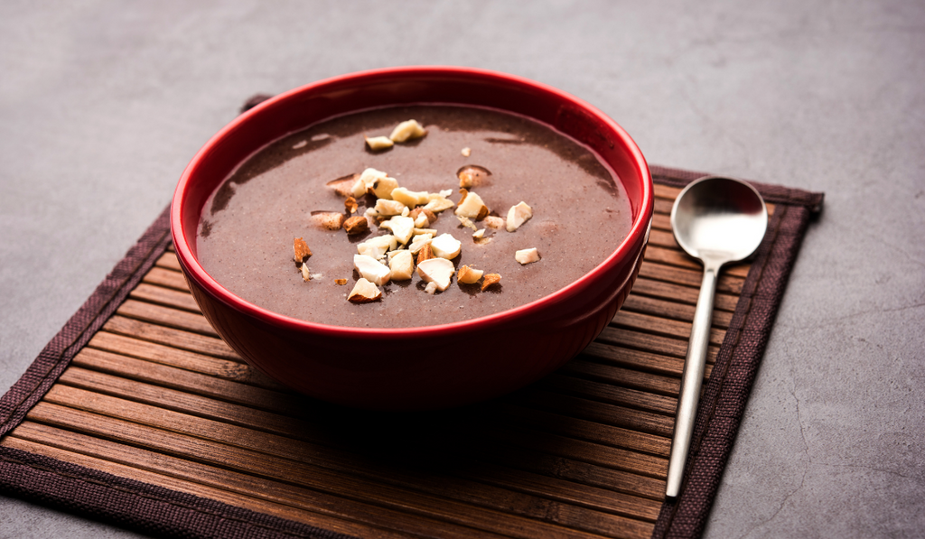 Ragi Recipe For Babies - Apple Ragi Porridge kept in a bowl