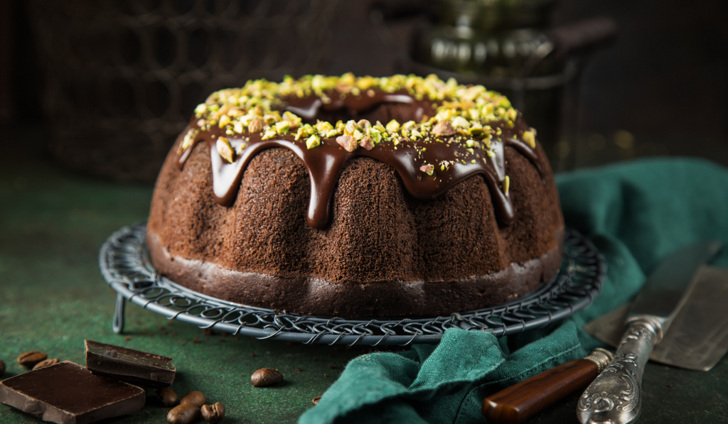 Bundt Cake with chocolate and nuts icing