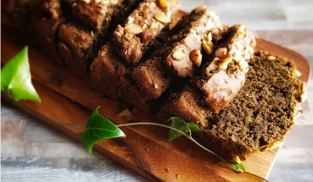 Ragi Eggless Banana Bread kept on a brown tray