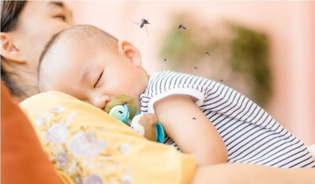 Natural Ways To Get Rid Of Mosquitoes. A baby sleeping with mosquitoes hovering over him