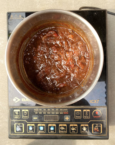 Place the ingredients in hot water