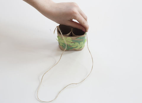 Toilet Paper Roll Binoculars - Craft Activities - Tie the thread around the holes