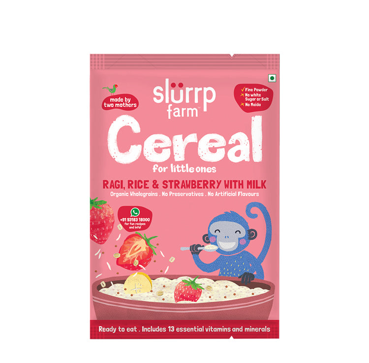 TRIAL PACK - Organic Ragi & Rice Cereal: Strawberry, 50g