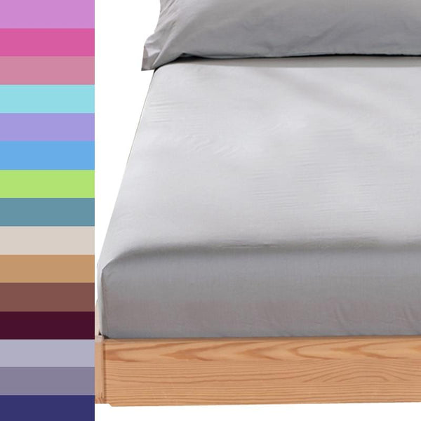 Simple plain Bed sheets fitted sheet with round elastic Plain bedding king queen size bed