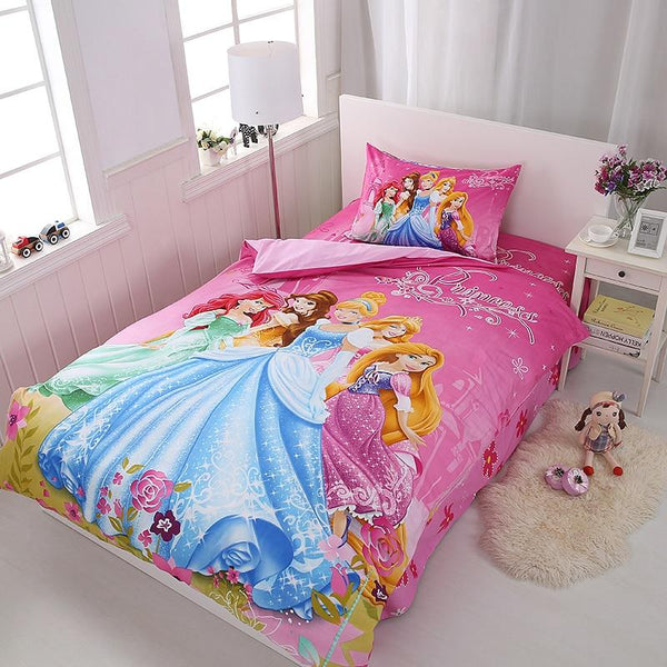Disney Cartoon Princess Kids Girls Bedding Set Duvet Cover Bed Sheet Pillow Cases Twin Single Size 3 Pieces