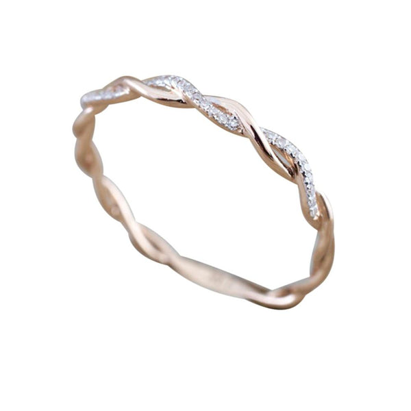 Rose Gold Color Twist Classical Cubic Zirconia Wedding Engagement Ring for Woman Girls Crystals Gift Rings