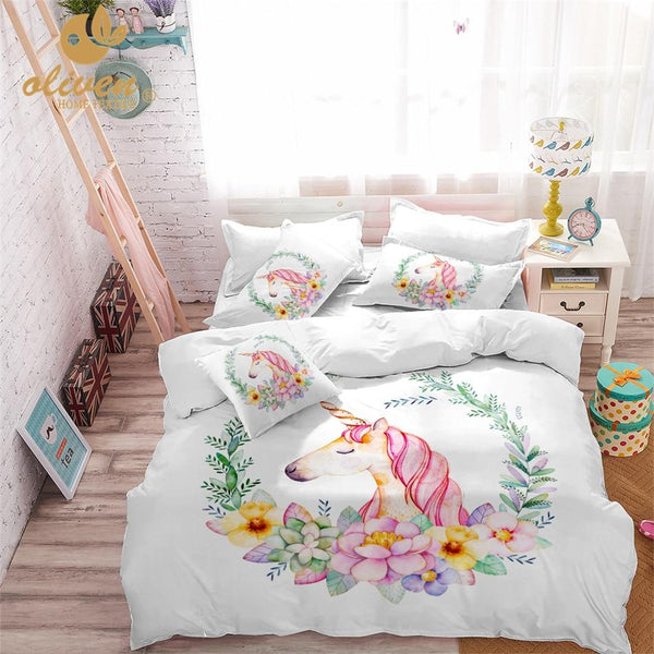 Unicorn Bedding Set Pink Designer Duvet Cover Cartoon Bed Line for Kids Princess Room