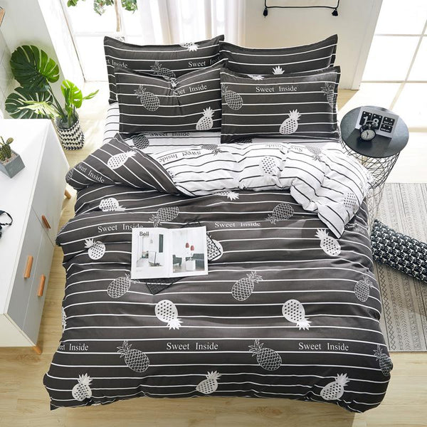 Duvet Cover flat Bed Sheet linen pillowcase Bedding Sets Full King Twin Queen size  3/ 4pcs