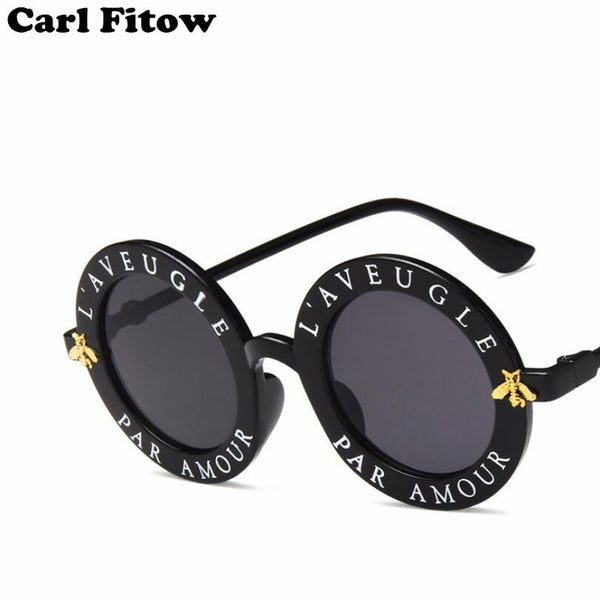 Retro Round Sunglasses Women Letters Bee Circle Sun Glasses Fashion Female Shades