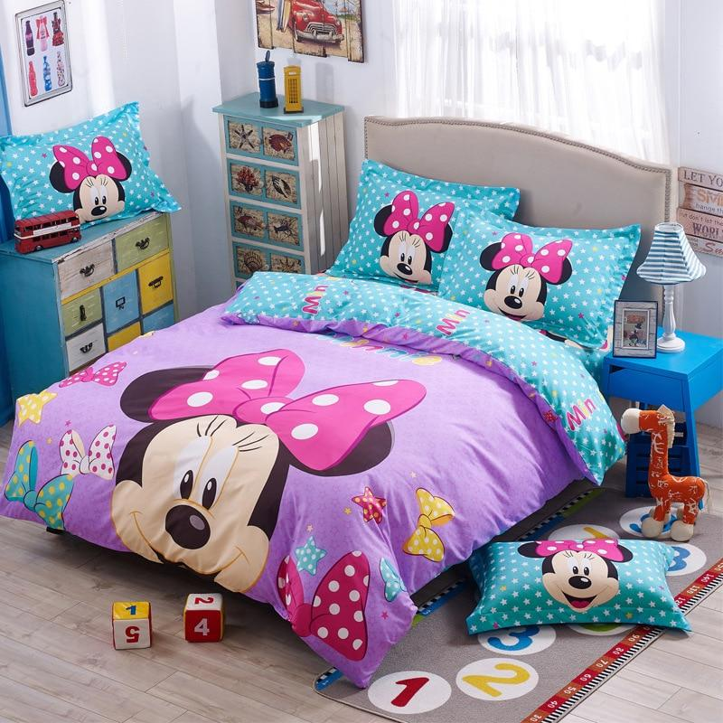 3D Cartoon Girls Bedclothes Mickey Mouse Lovely Minne Bed Linens Set Pillowcases Comforter Cover Kids Gift Disney Duvet Cover Set